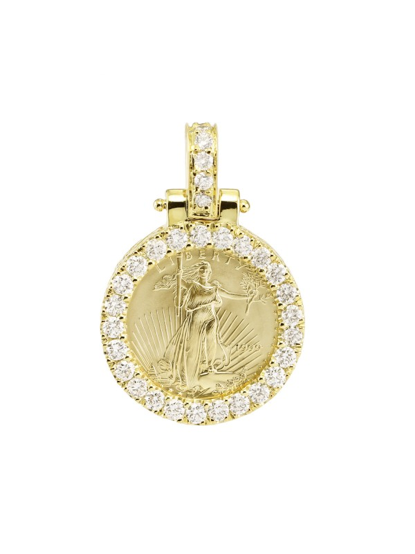1/10oz Gold Diamond Lady Liberty Coin Pendant