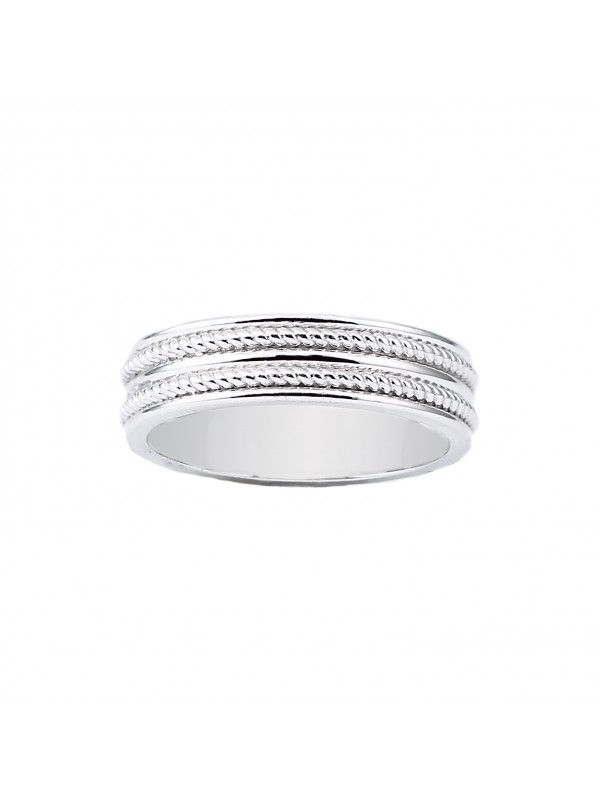 Milgrain Inlay Band in 14K White Gold