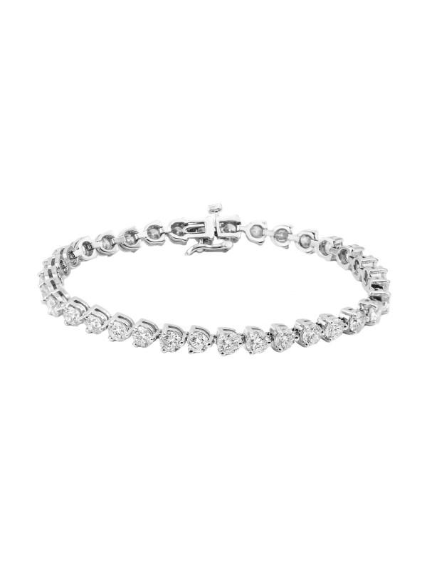 3 Prong Set Diamond Tennis Bracelet 14k White Gold